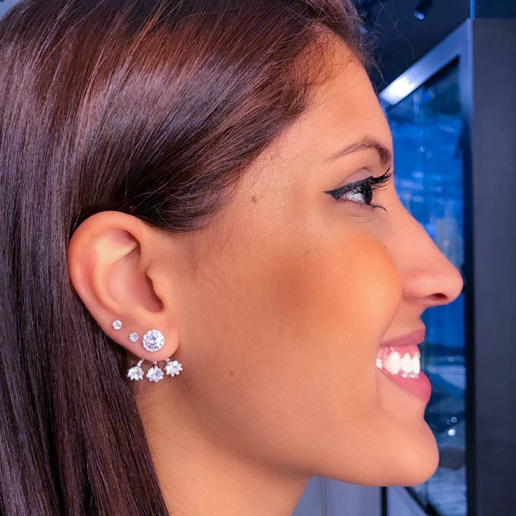 Brinco de Prata Ear Jacket Zircônias - Coleção Mães e Filhos