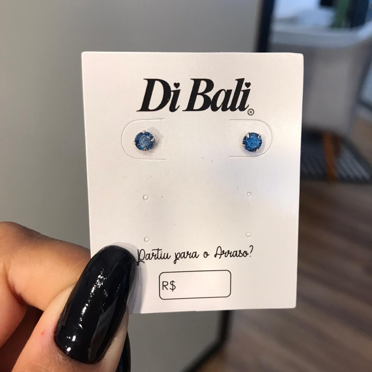 Brinco de Prata Zircônia Azul Royal