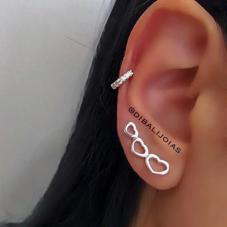 Brinco de Prata Ear Cuff Coração