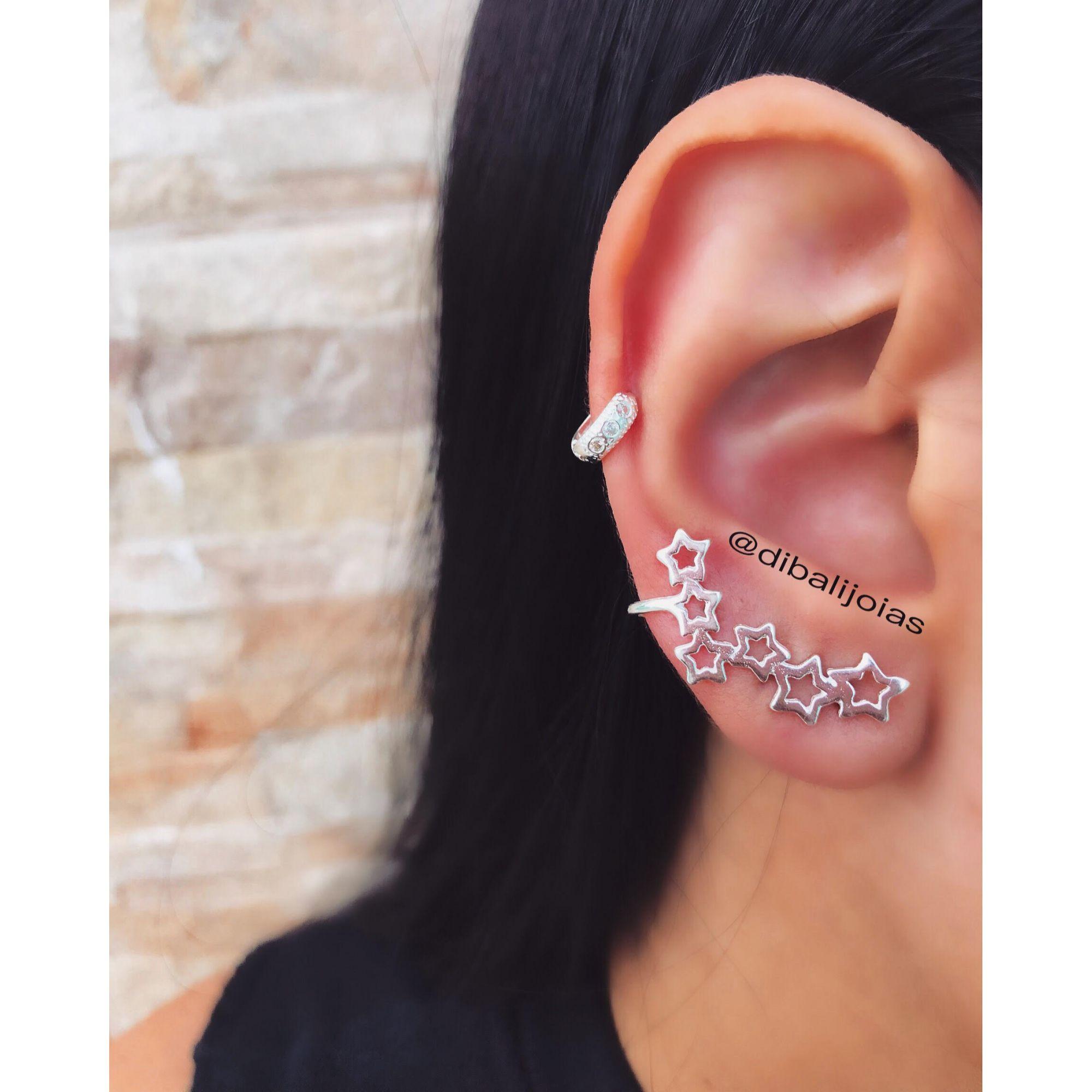 Brinco Ear Cuff Estrela de Prata - Dibalijoias 844997e2e1