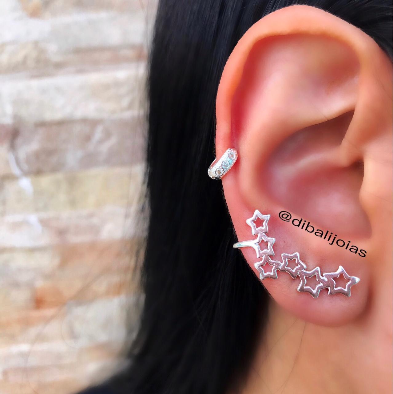 Brinco de Prata Ear Cuff Estrela