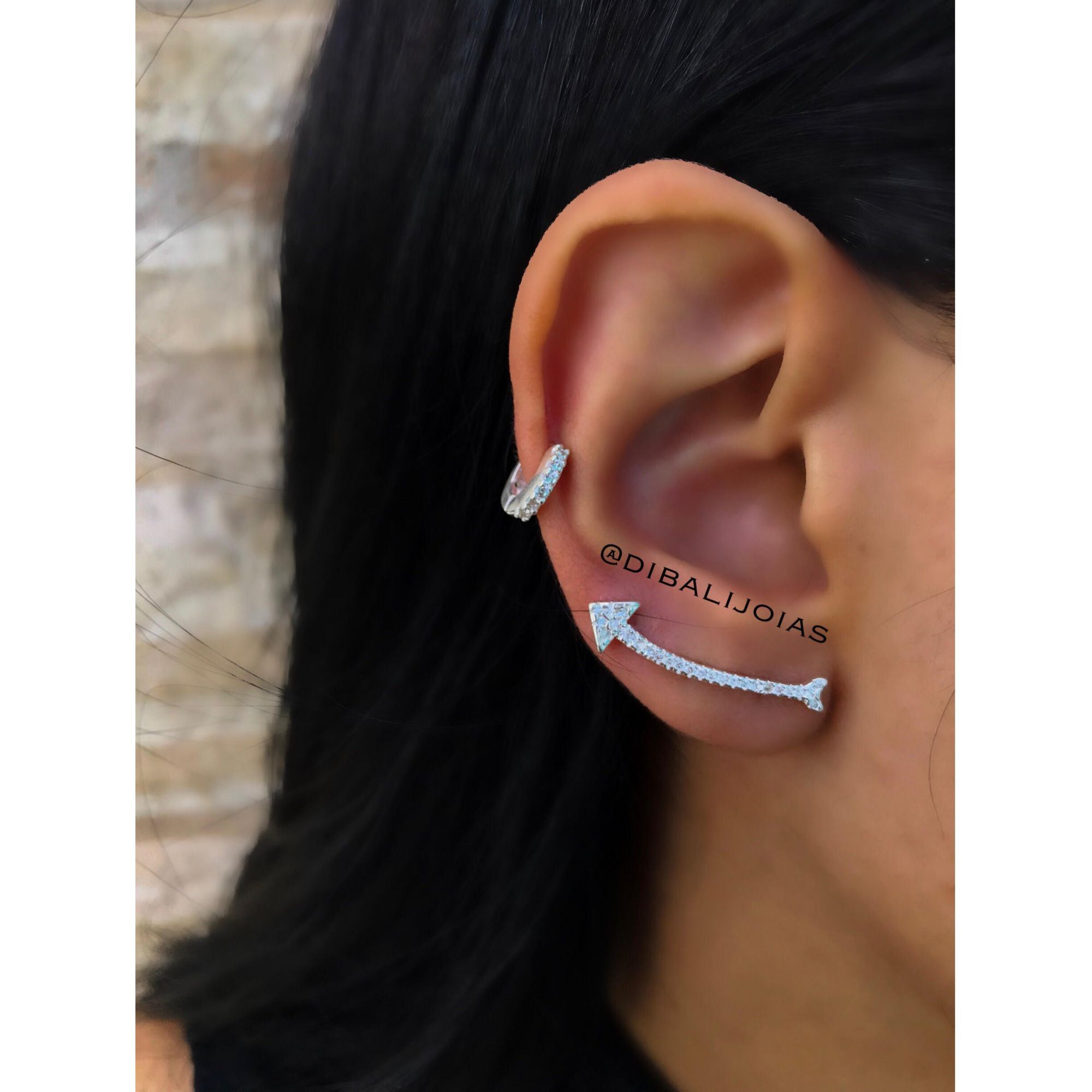 Brinco Ear Cuff Flecha de Prata - Dibalijoias e696aa1c4b