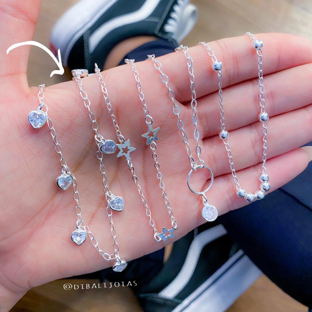 Colar Choker de Prata Coração de Zircônia - Coleção Mozão