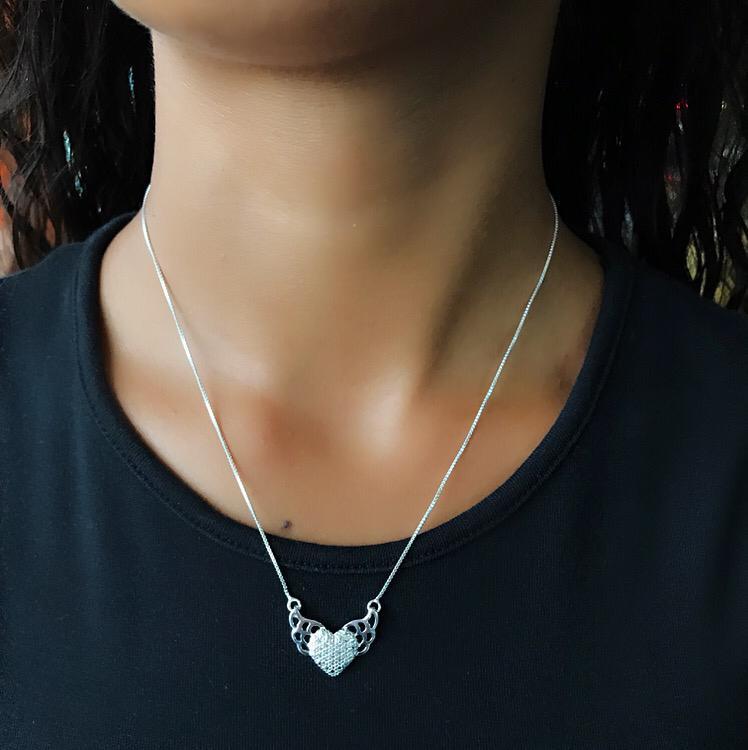 Colar de Prata Coração com Zircônia