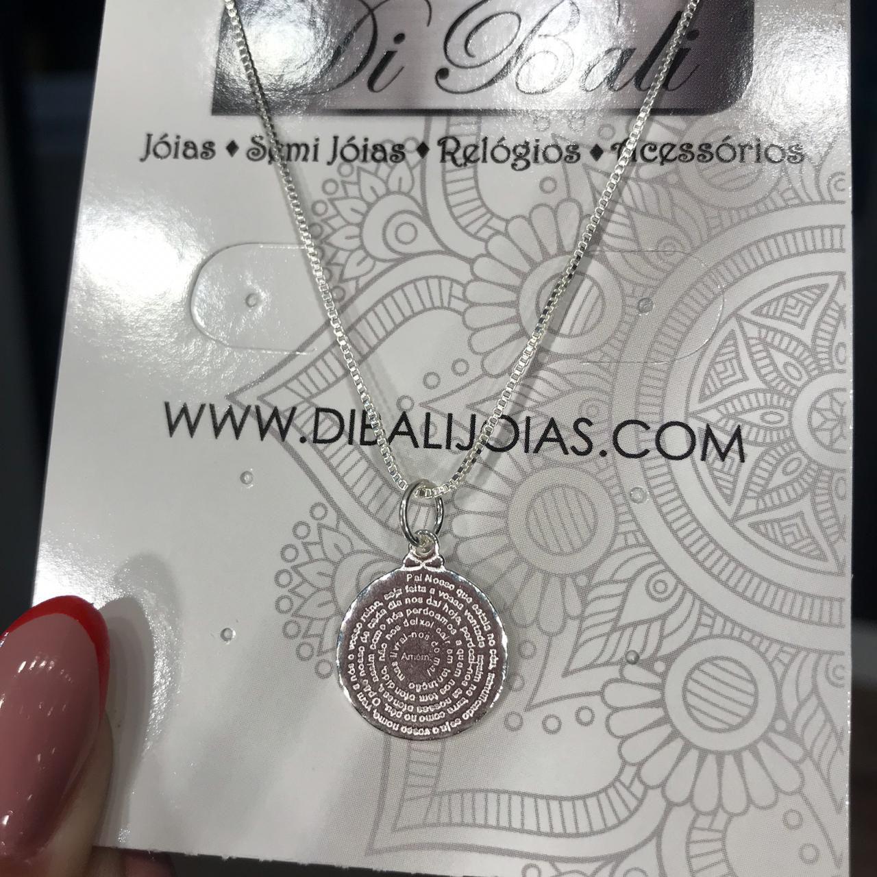 Colar de Prata Medalha Pai Nosso Pequeno