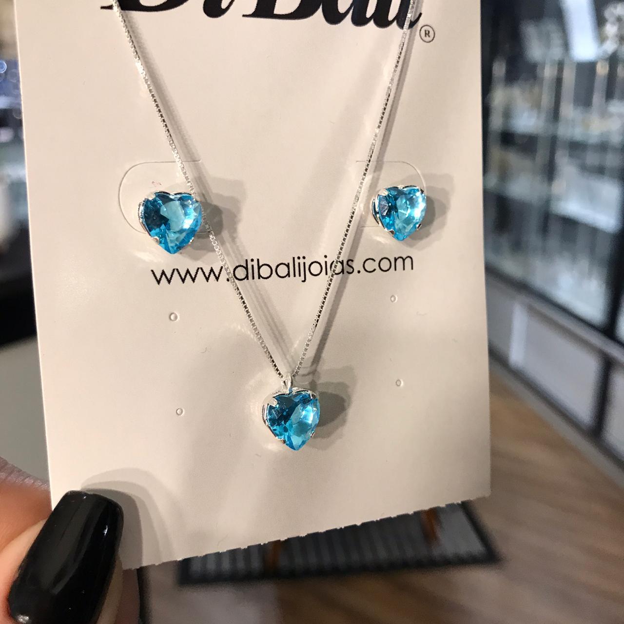 Conjunto de Prata Coração Azul Claro