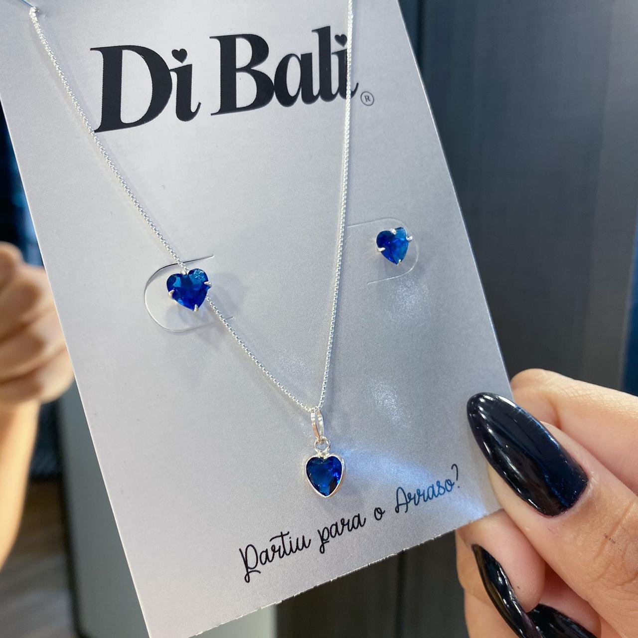 Conjunto de Prata Coração Azul Marinho Pequeno