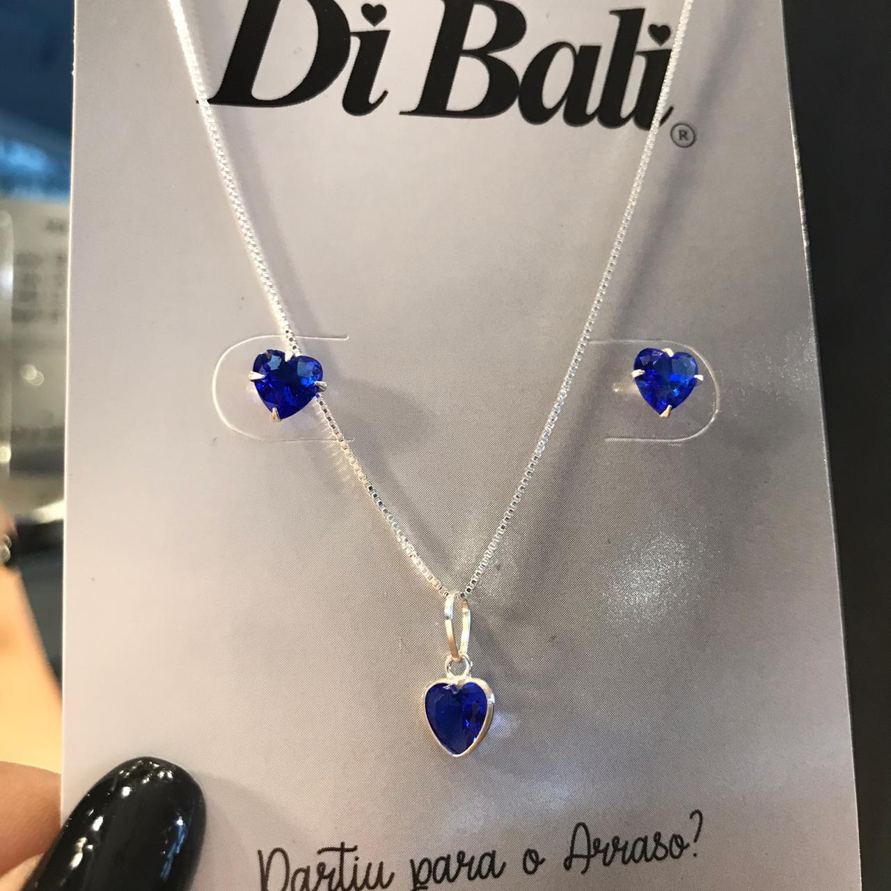 Conjunto de Prata Coração Azul Royal