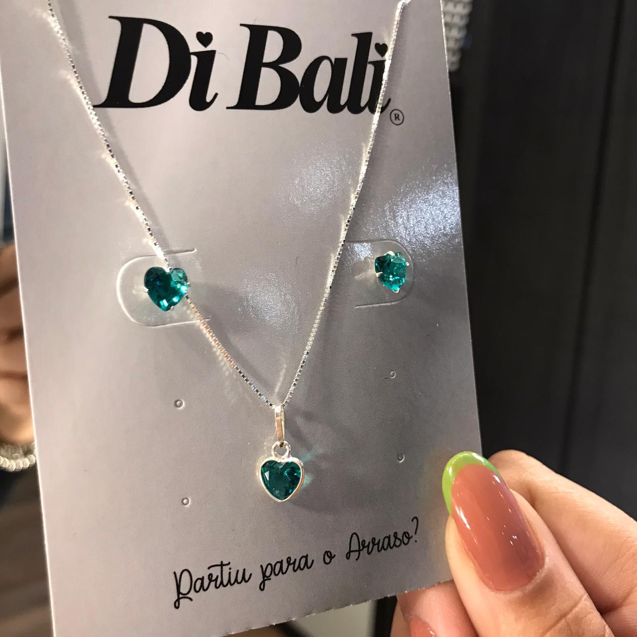 Conjunto de Prata Coração Verde