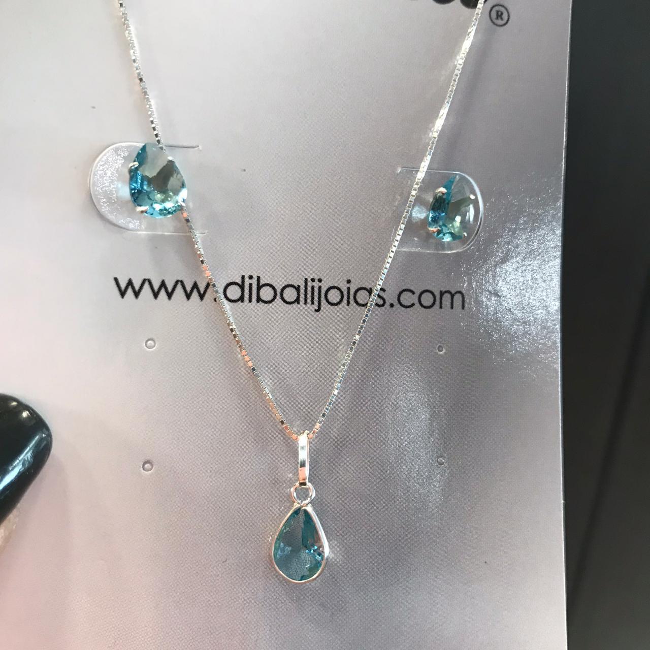 Conjunto de Prata Gota Azul Oceano