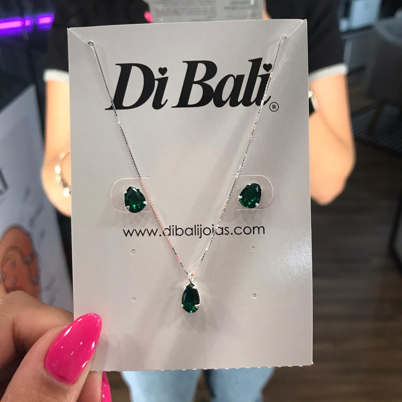 Conjunto de Prata Gota Verde Esmeralda