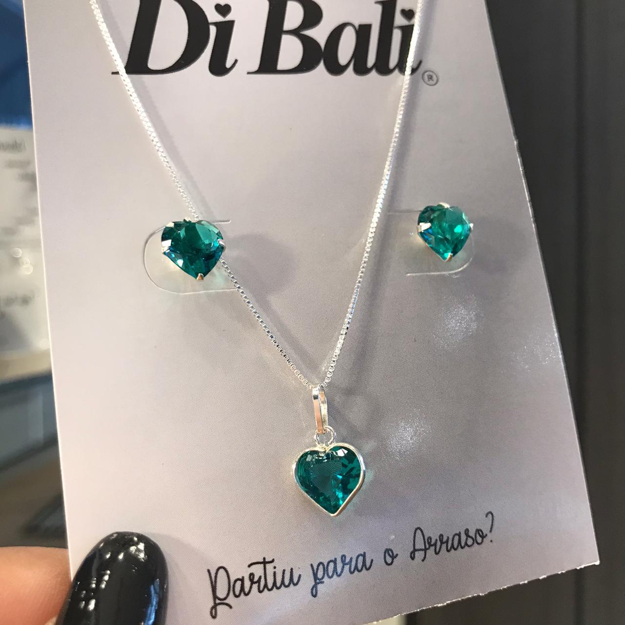 Conjunto Prata Coração Verde Esmeralda Médio