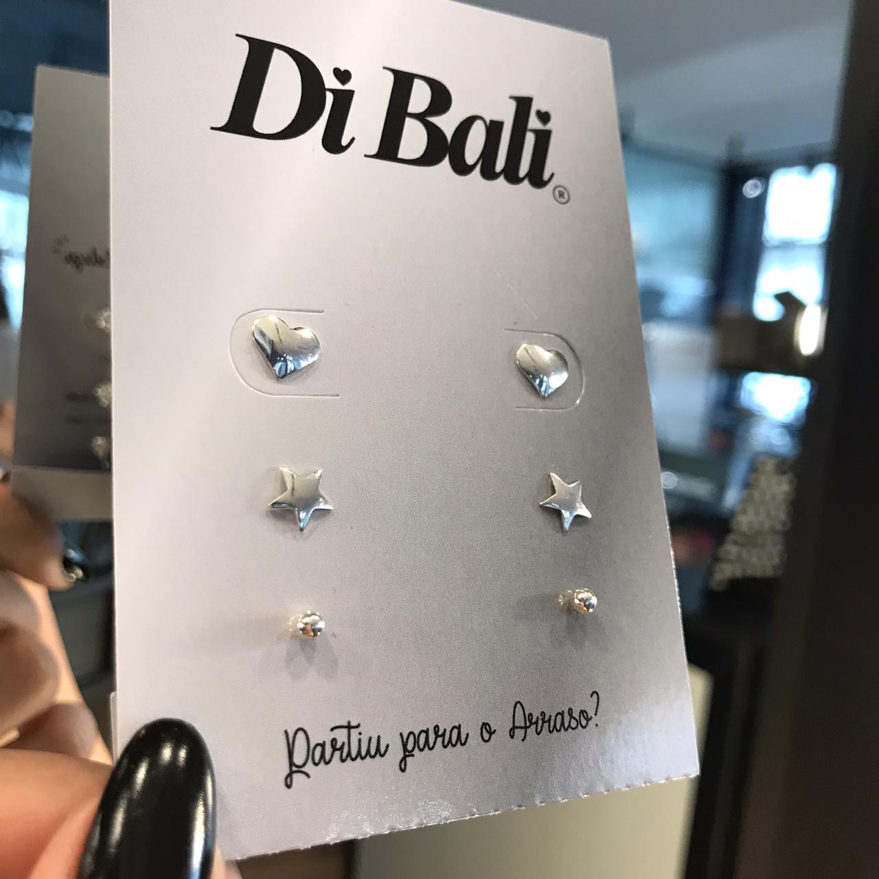 Kit 3 Brincos de Prata Coração, Estrela e Bola
