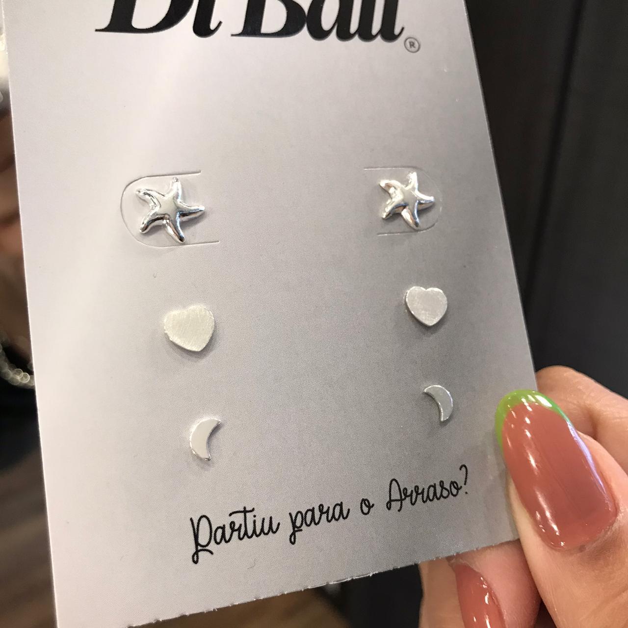 Kit 3 Brincos de Prata Estrela do Mar, Coração e Lua