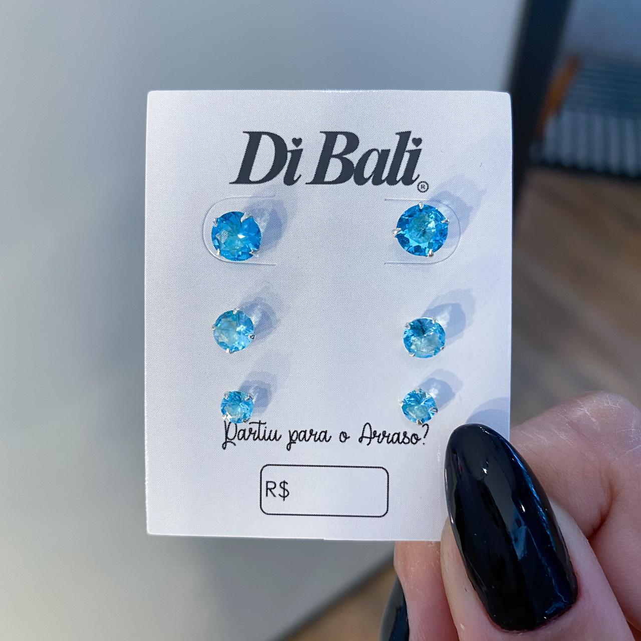 Kit 3 Brincos de Prata Zircônia Azul Claro - Coleção Sol e Mar