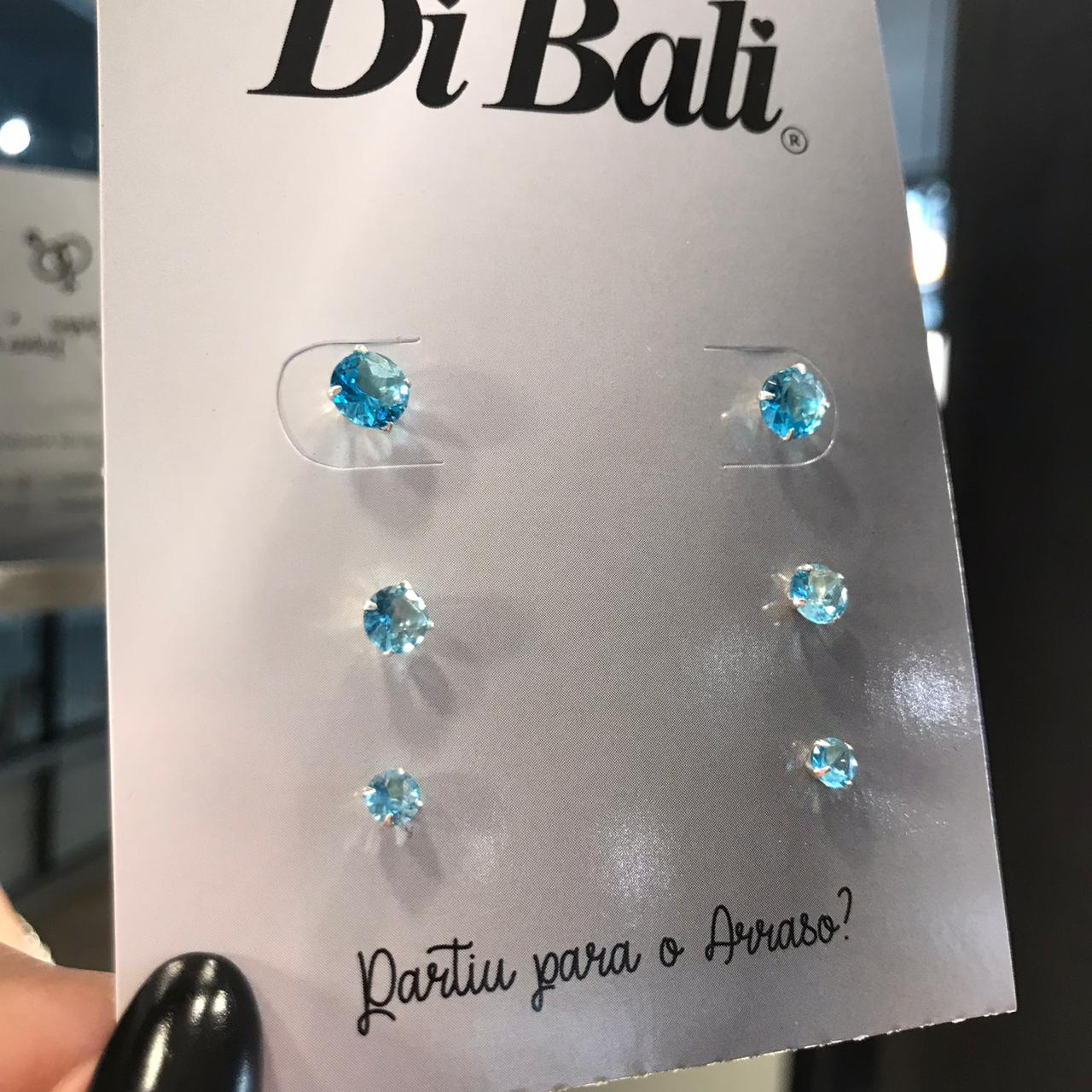 Kit 3 Brincos de Prata Zircônia Azul Claro