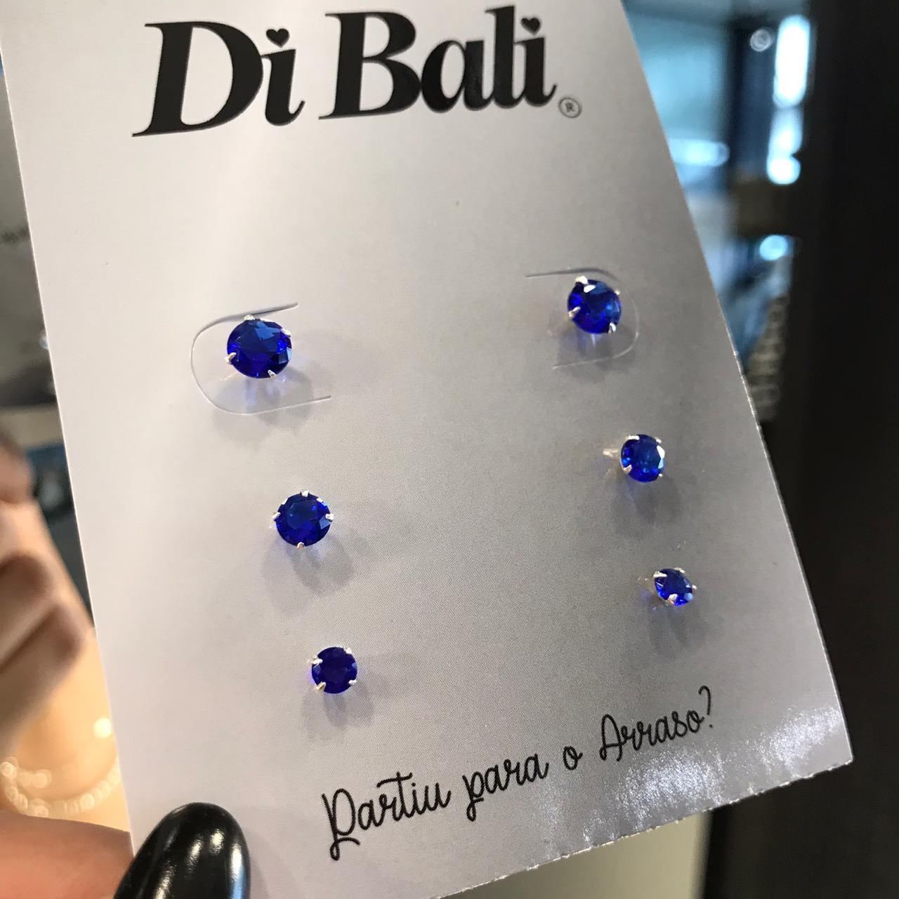 Kit 3 Brincos de Prata Zircônia Azul Marinho