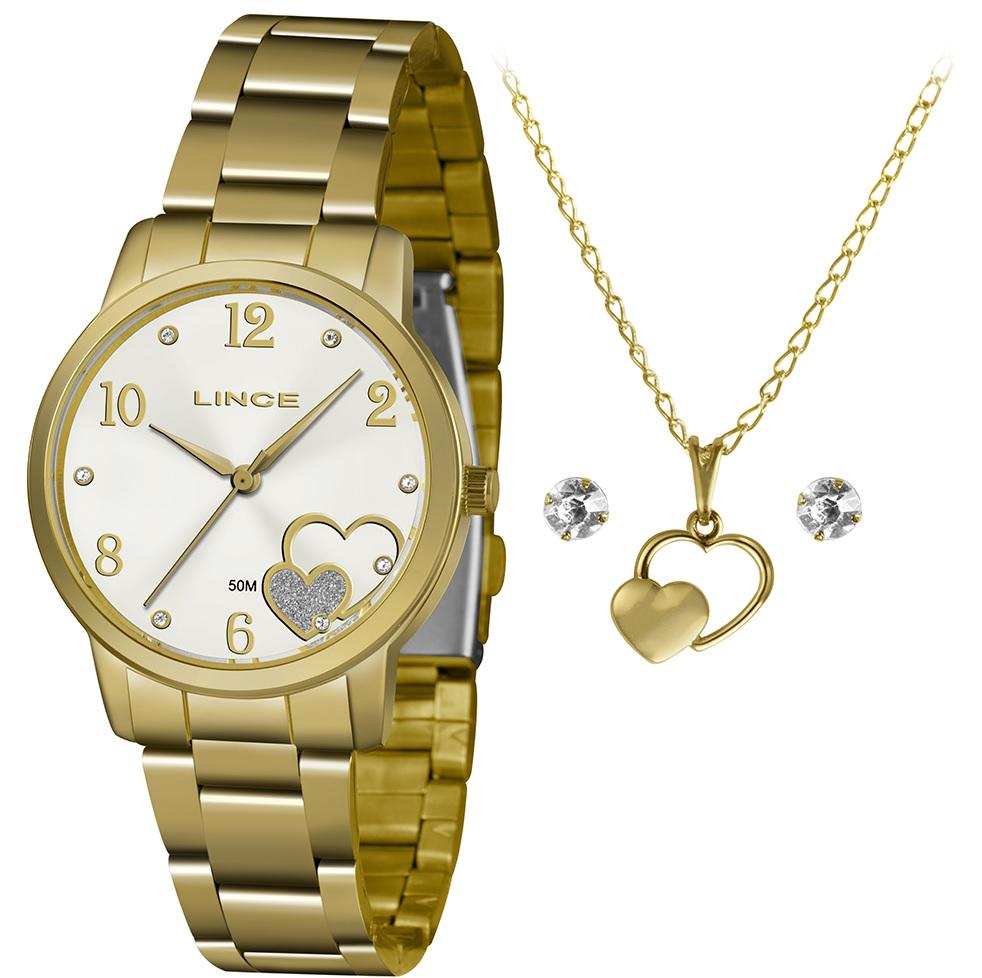 Kit Relógio Lince Dourado com Fundo Perolado - LRGJ108L