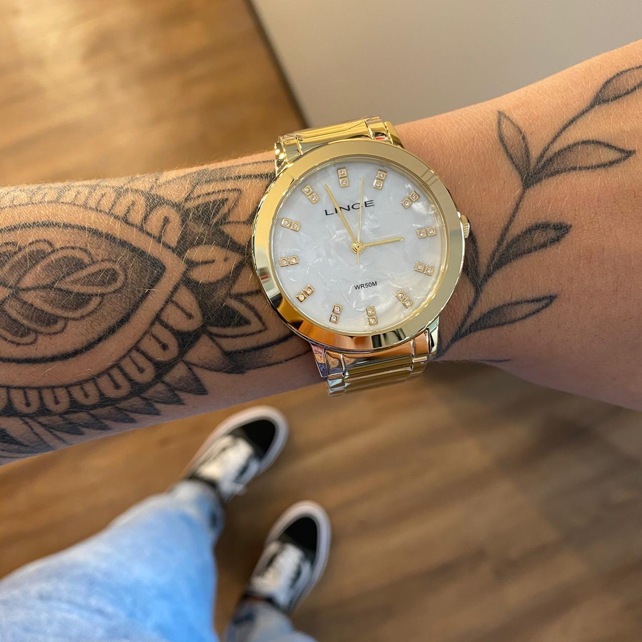 Kit Relógio Lince Dourado Fundo Perolado - LRGH142L