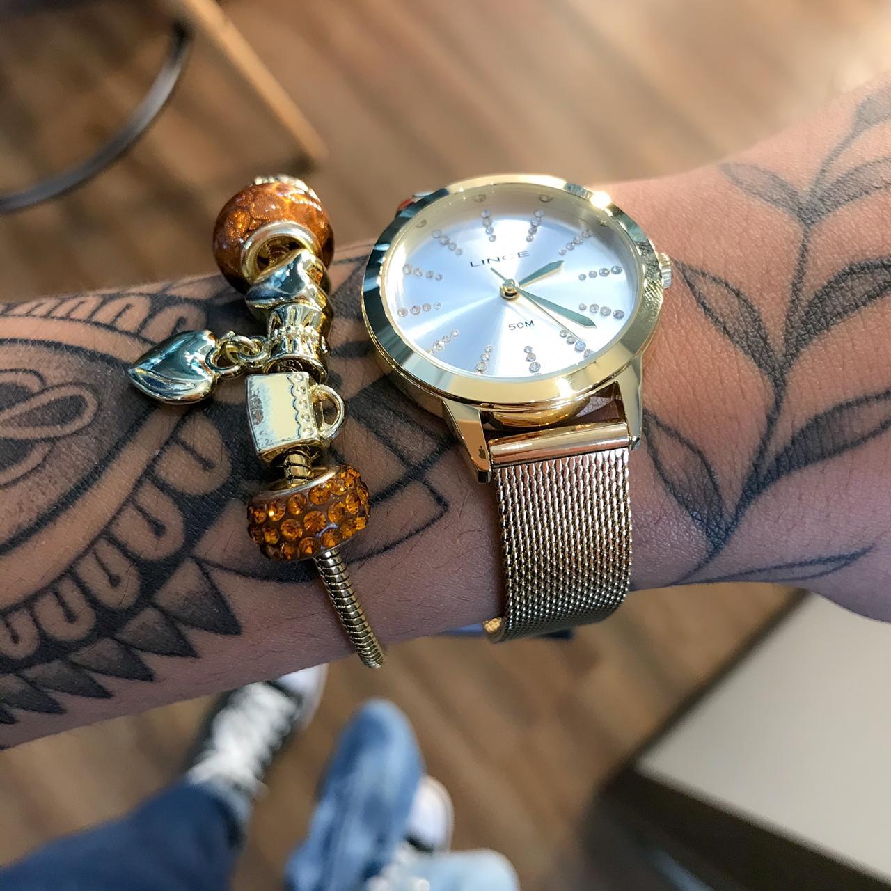 Kit Relógio Lince Dourado - LRGH123L