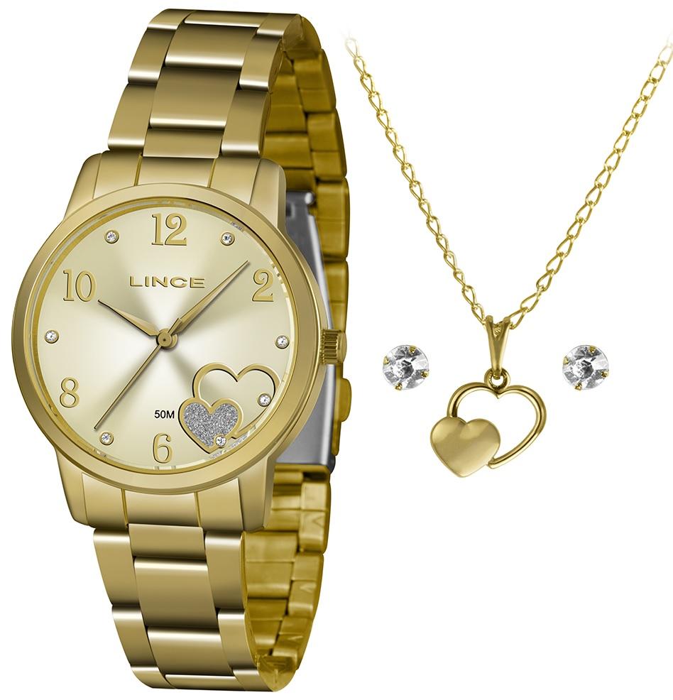 Kit Relógio Lince Dourado - LRGJ108L