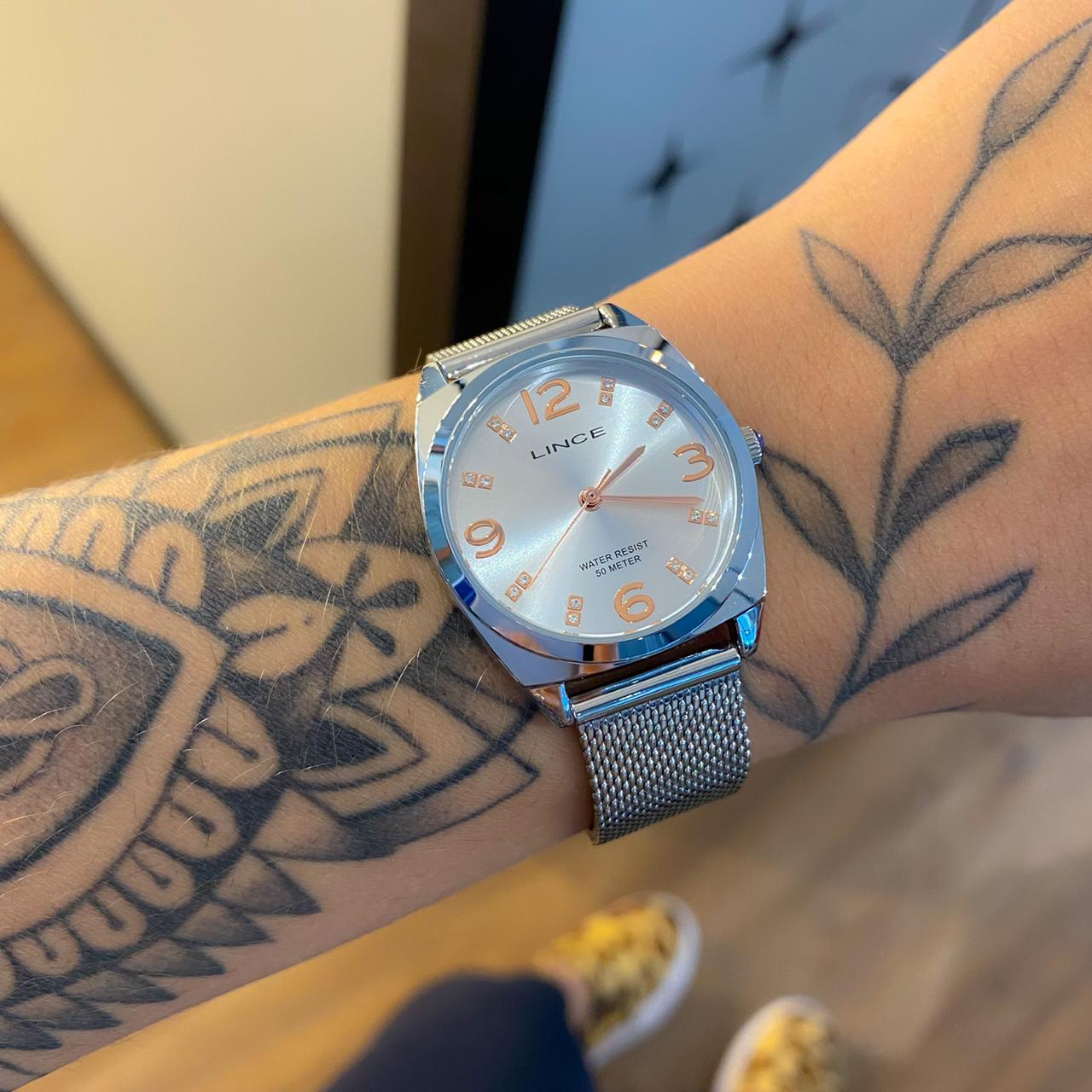 Kit Relógio Lince Prata Borboleta - LRMH139L
