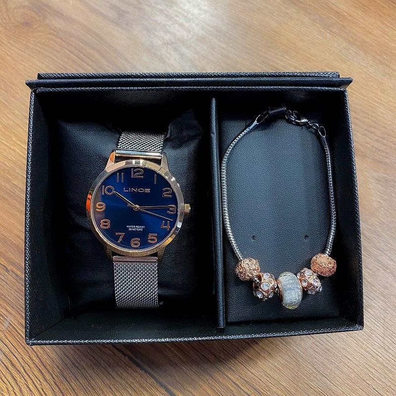 Kit Relógio Lince Prata com Rosé e Azul - LRT4652L