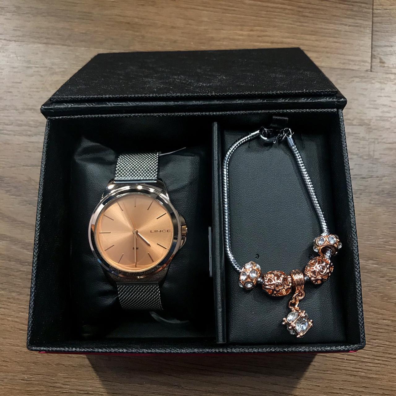 Kit Relógio Lince Prata com Rose  - LRT4650L