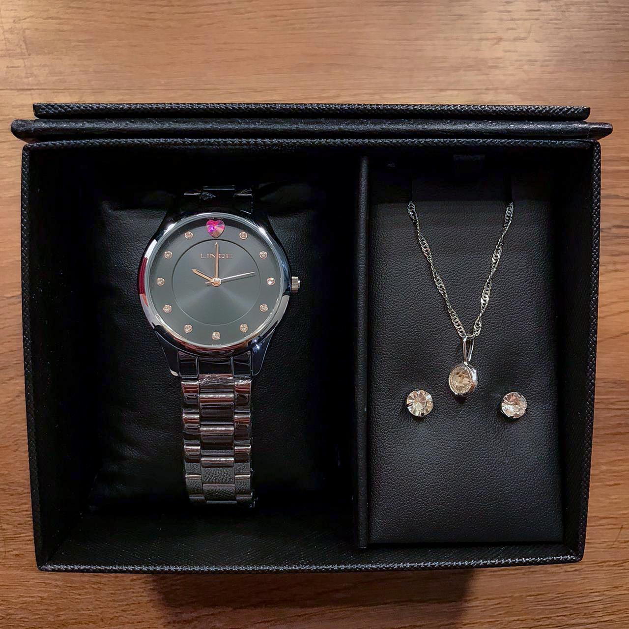 Kit Relógio Lince Prata e Preto - LRMJ138L