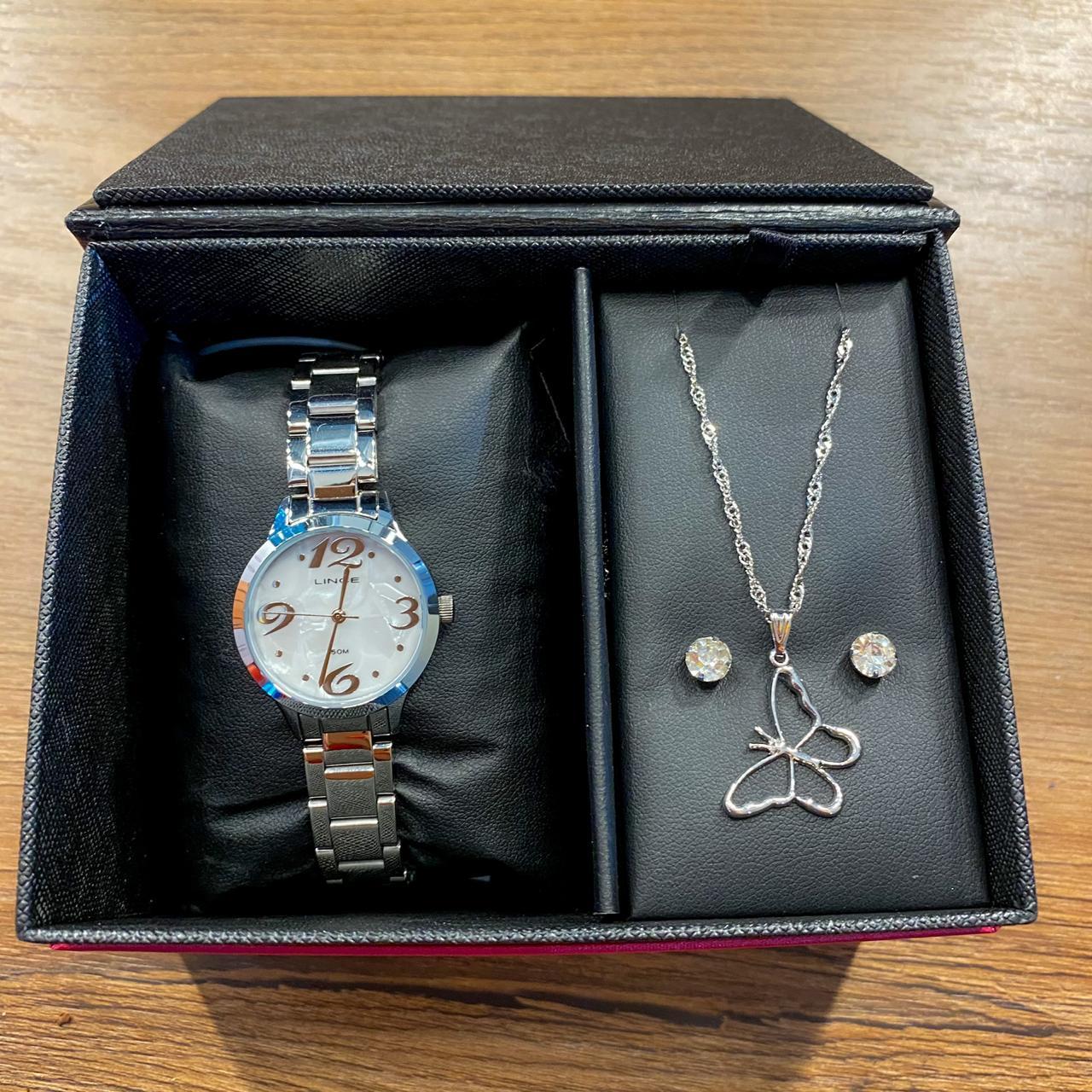 Kit Relógio Lince Prata - LRMH147L