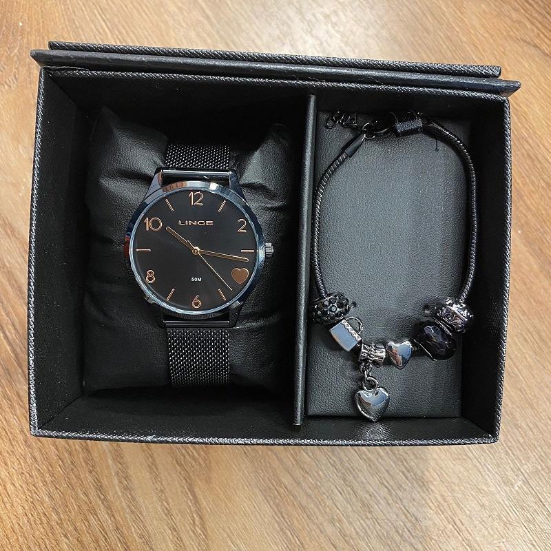 Kit Relógio Lince Preto - LRN4626L