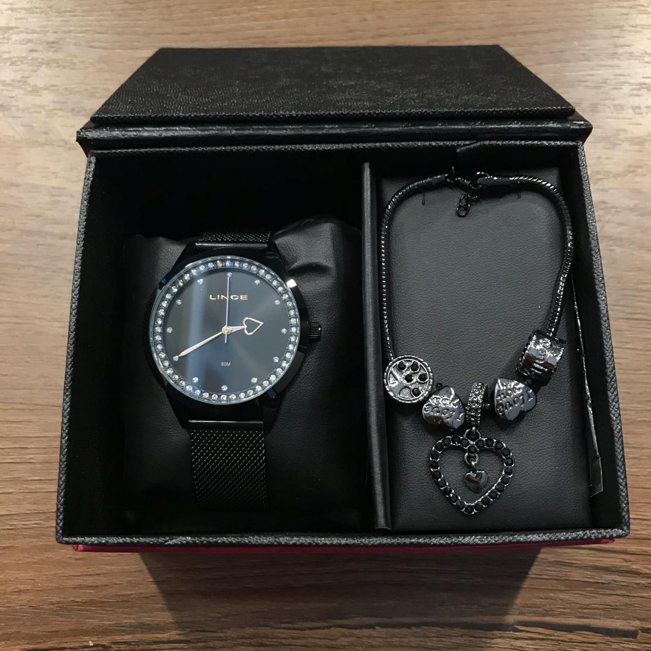 Kit Relógio Lince Preto - LRN4666L