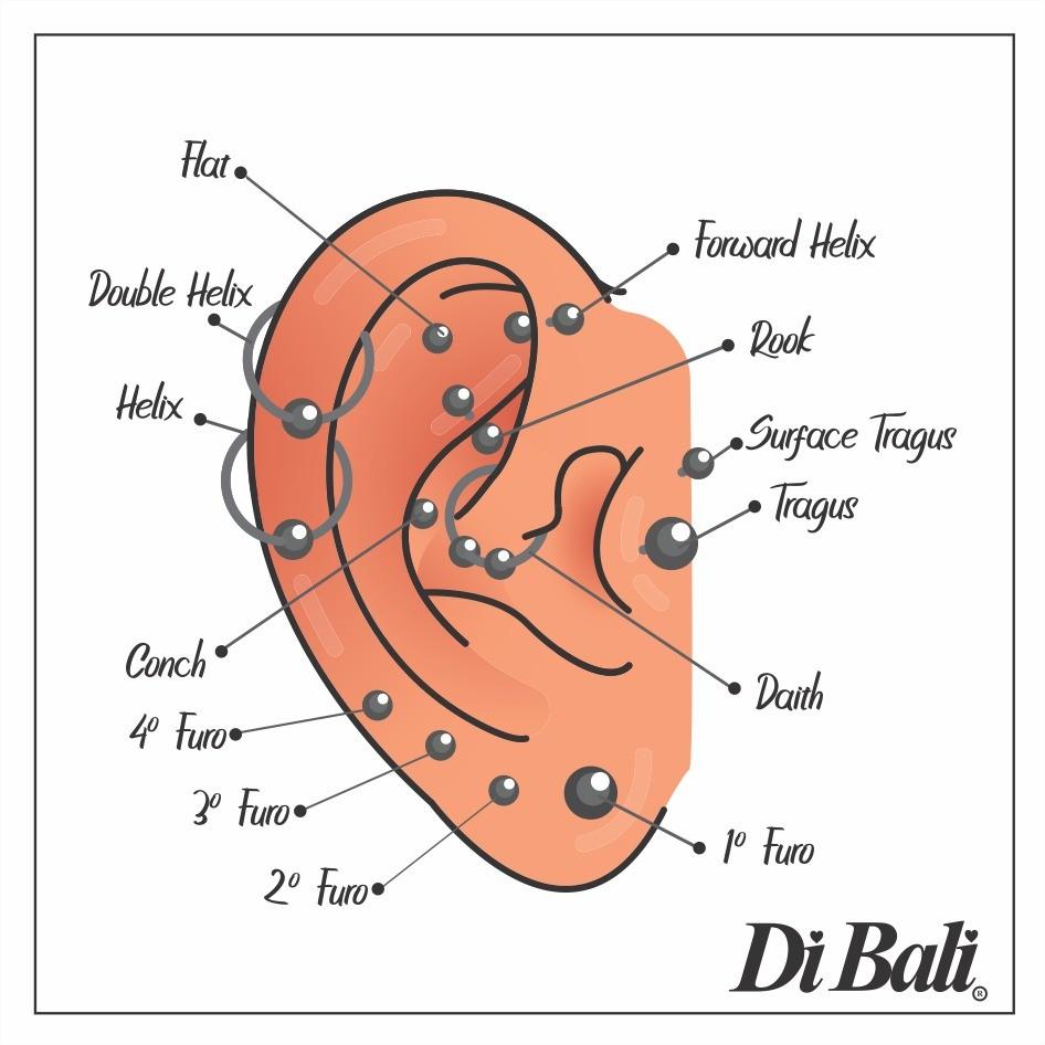 Piercing de Orelha Helix Pequeno com Zircônia