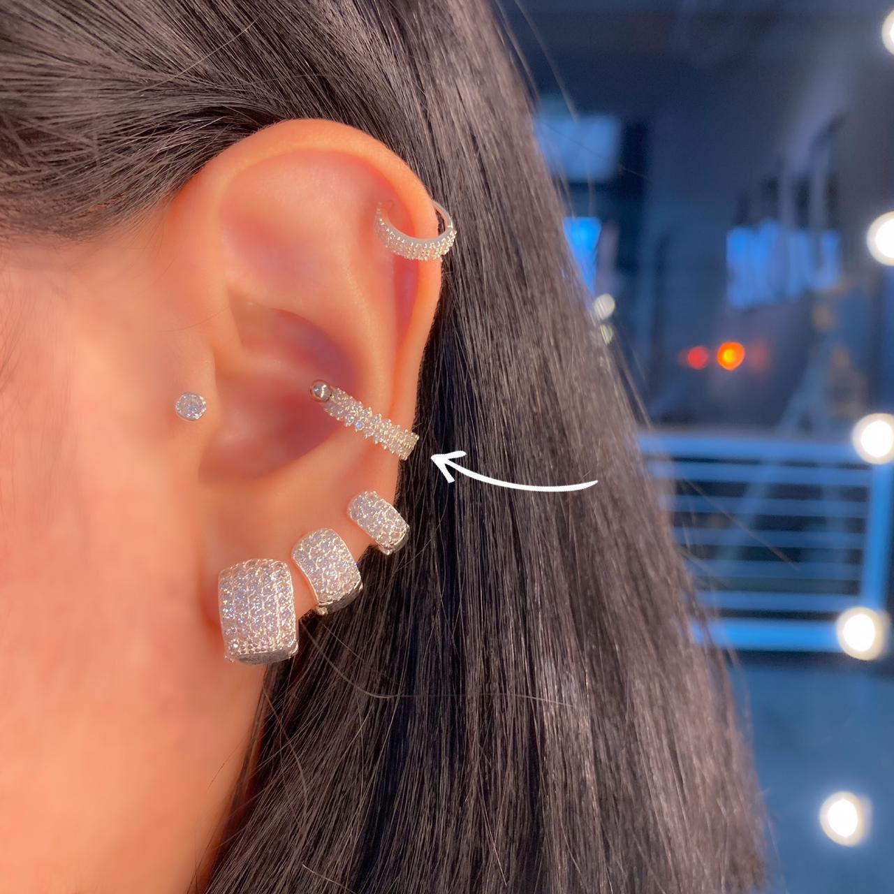 Piercing de Prata Orelha Conch Zircônia Grosso