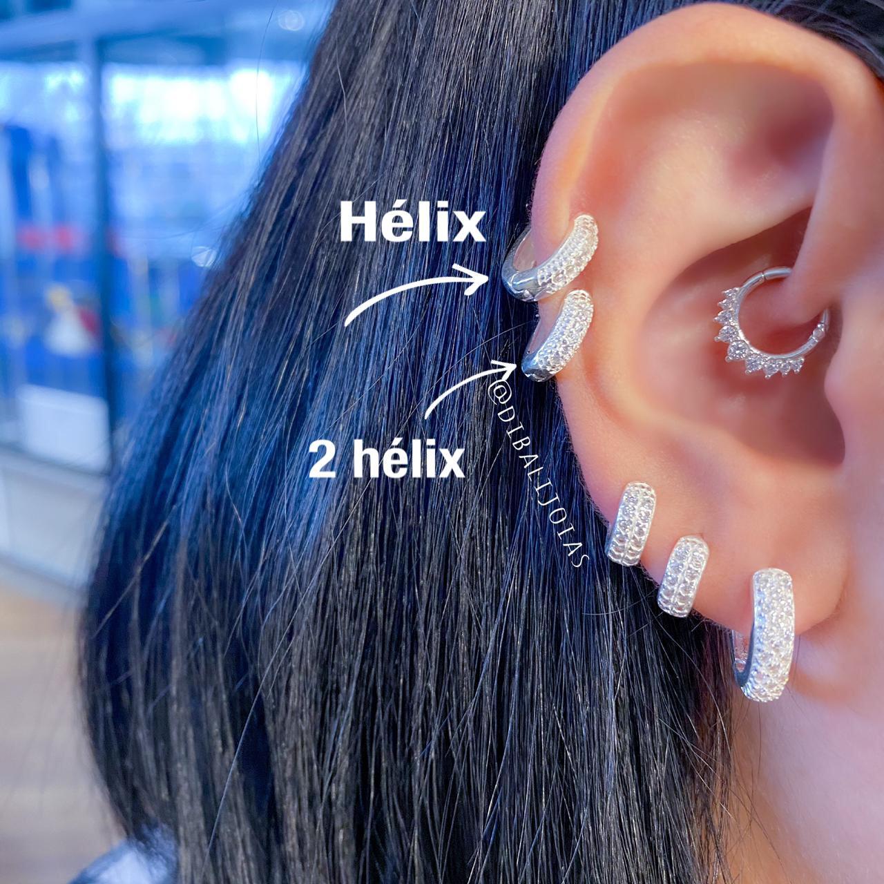 Piercing de Prata Orelha Helix com Zircônias Grossas