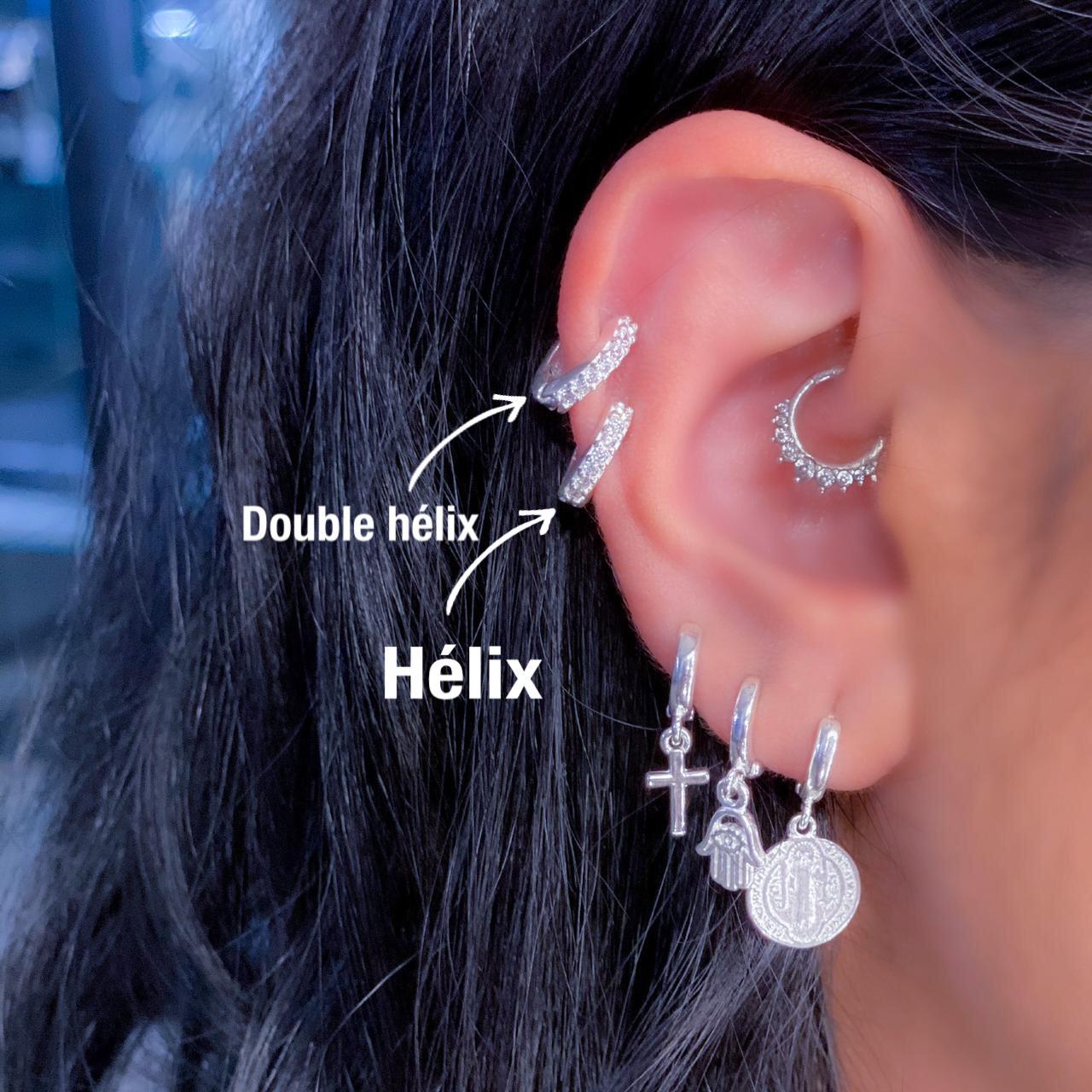 Piercing de Prata Orelha Helix Fino com Zircônias