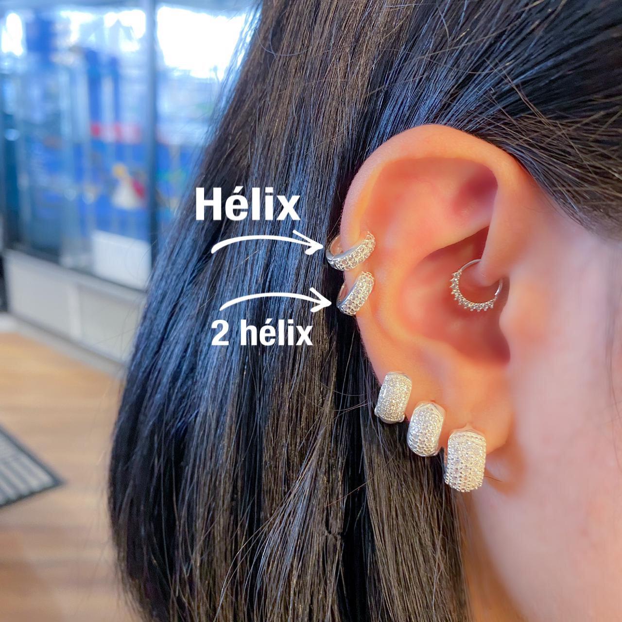 Piercing de Prata Orelha Helix Grosso com Zircônias