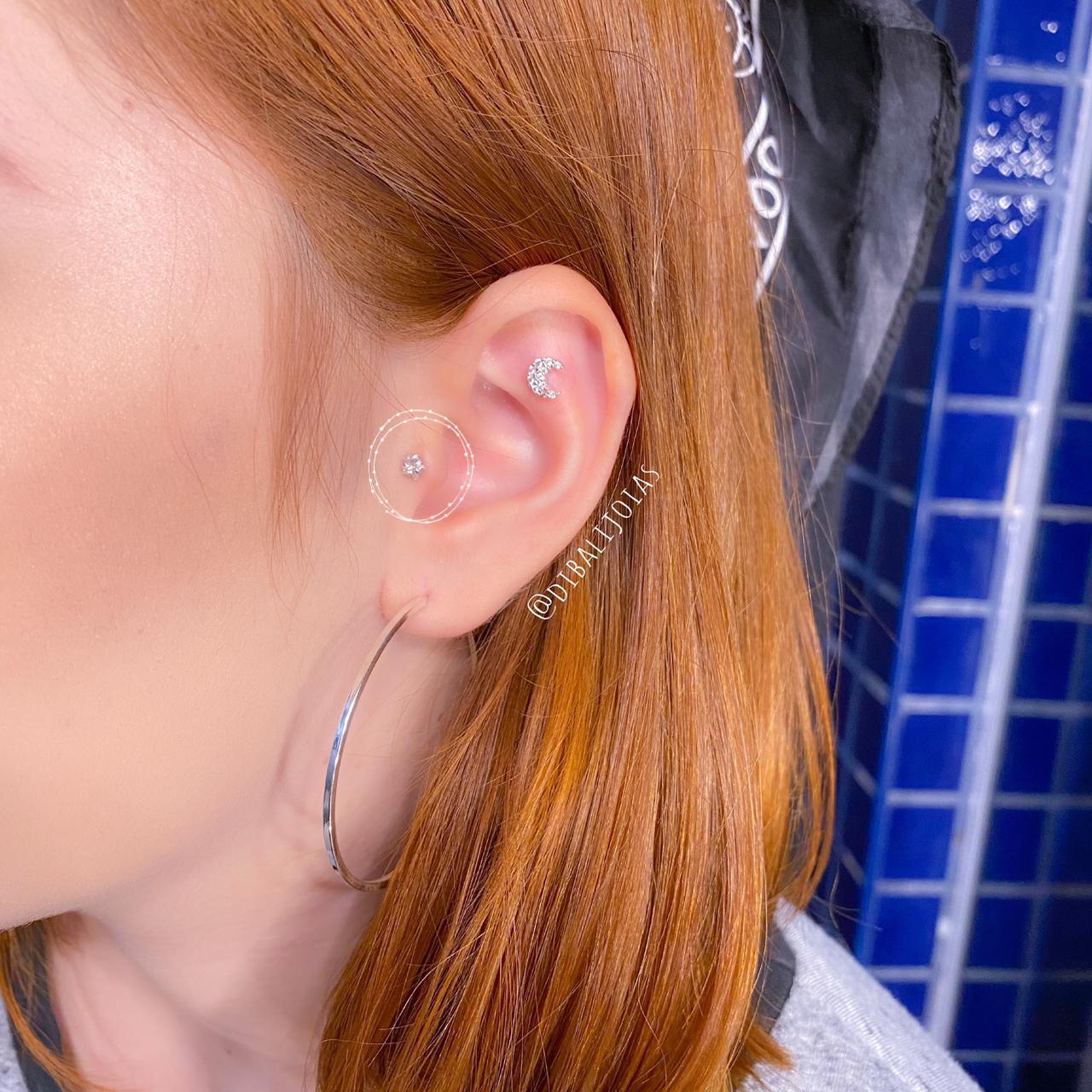 Piercing de Prata Orelha Tragus Estrela Pequena
