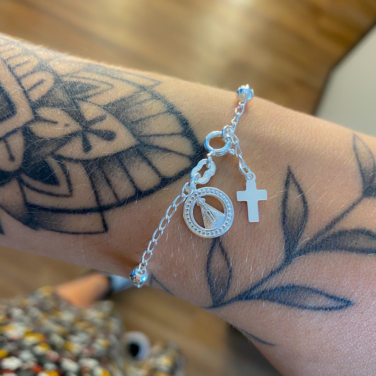 Pulseira de Prata Nossa Senhora Aparecida e Cruz - Coleção Mães e Filhos