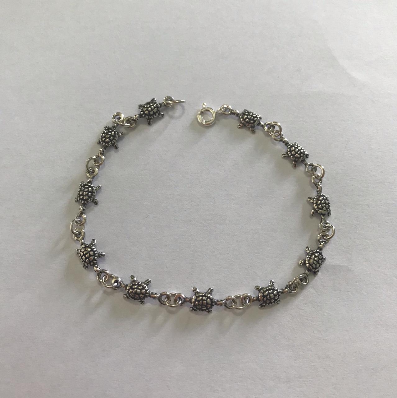 Pulseira Tartaruga Envelhecida de Prata