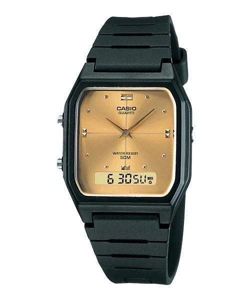 Relógio Casio Digital-Analógico Fundo Dourado - AW-48HE-9AV