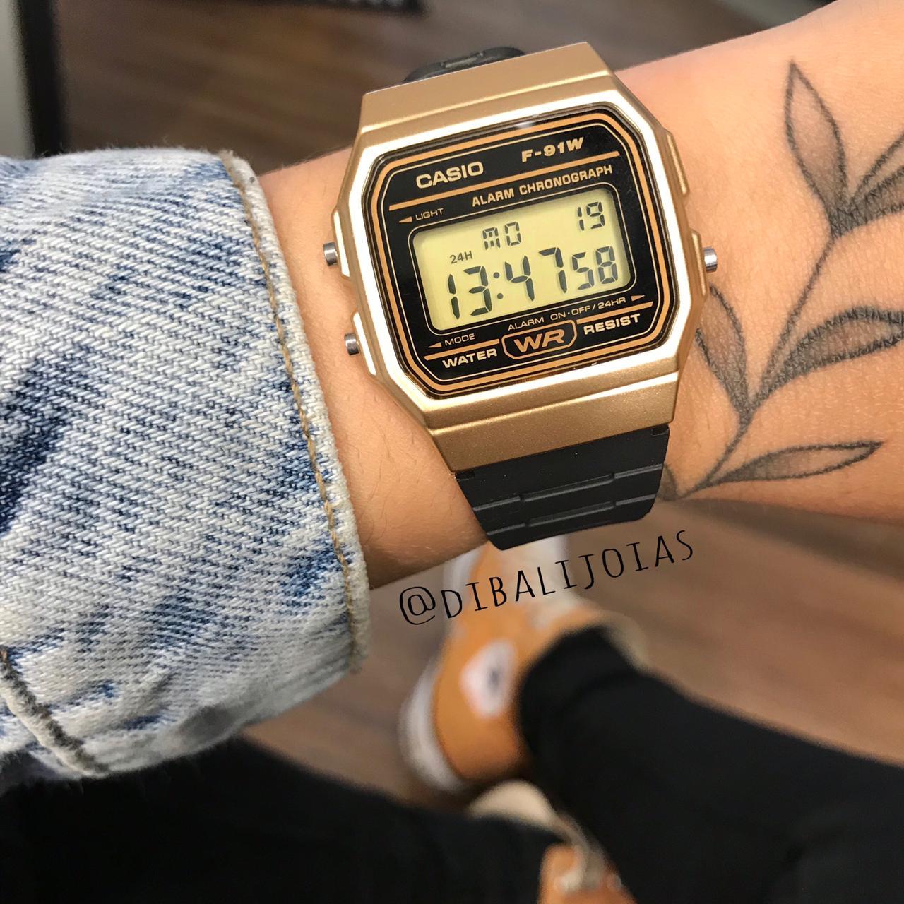 Relógio Casio Vintage Caixa Dourada - F-91WM-9A