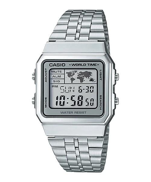 Relógio Casio Vintage Prata Hora Mundial - A500WA-7DF