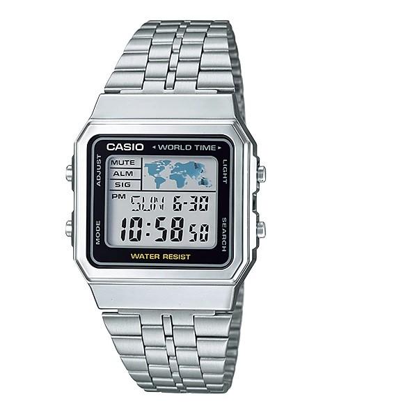 Relógio Casio Vintage Prata Hora Mundial com Fundo Preto - A500WA-1