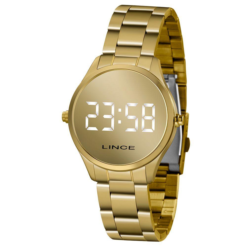 Relógio Lince Dourado Led - MDG4617L