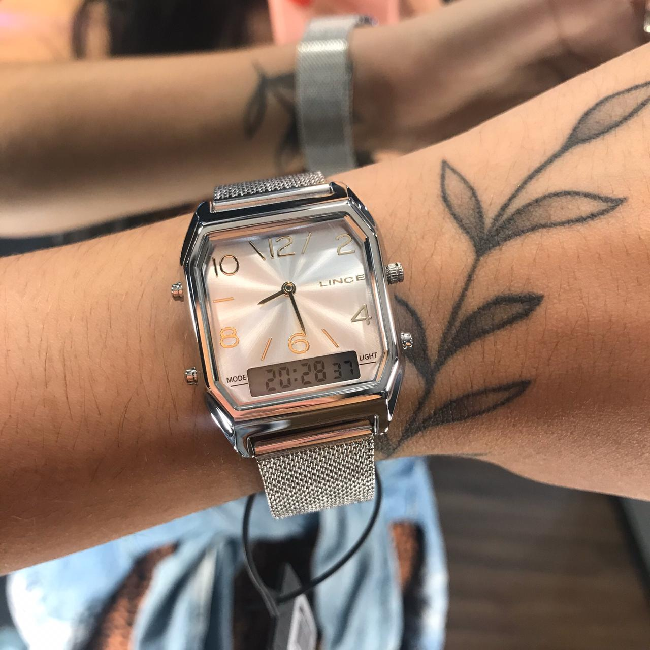 Relógio Lince Anadigi Prata - LAMH118L