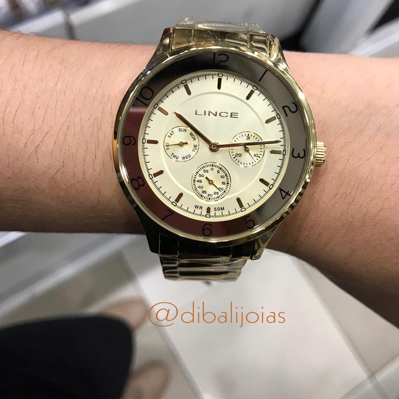 Relógio Lince Dourado LMG4377L