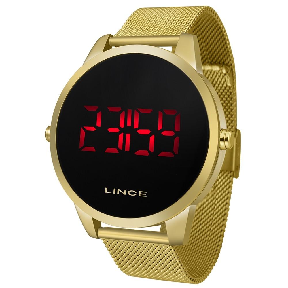 Relógio Lince Led Dourado - MDG4586L