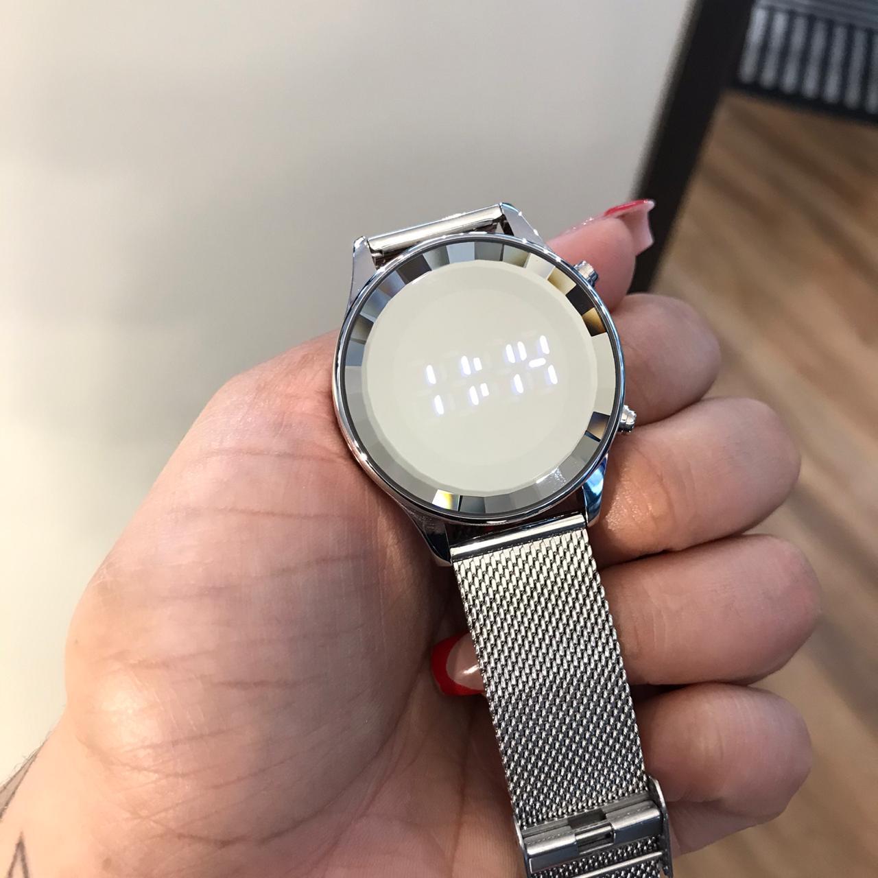 Relógio Lince Prata Led - LDM4648L