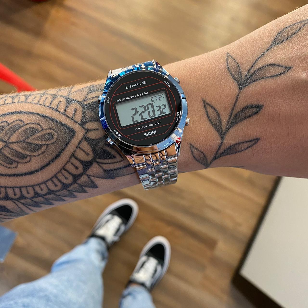 Relógio Lince Vintage Prata com Preto- SDPH024L
